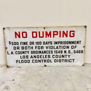 NO DUMPING_アメリカビンテージサイン【492】